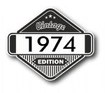 VIntage Edition 1974 Classic Retro Cafe Racer Design External Vinyl Car Motorcyle Sticker 85x70mm
